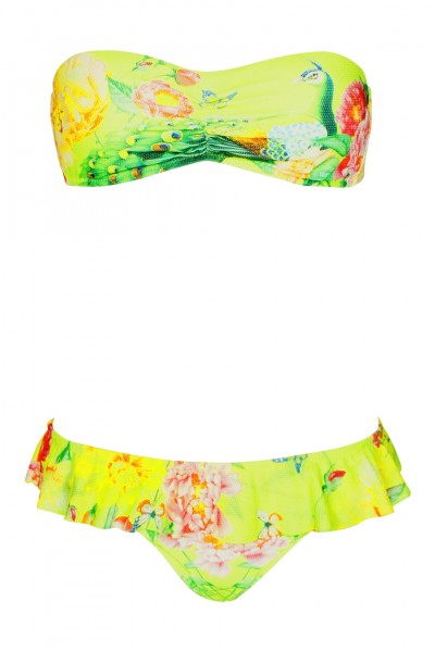 Padded Bandeau Bikini with floral print in yellow