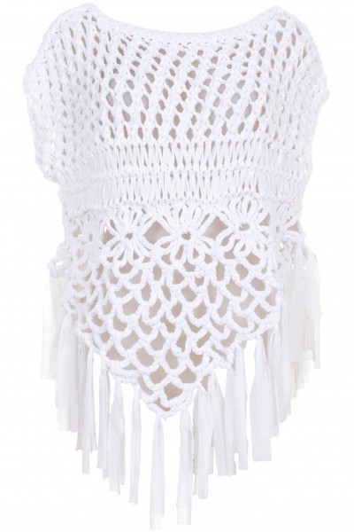 Braided poncho with fringes