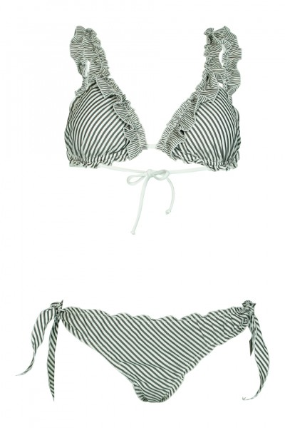 Striped padded triangle bikini in grey