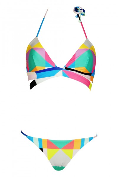 Reversible triangle bikini in Aqua