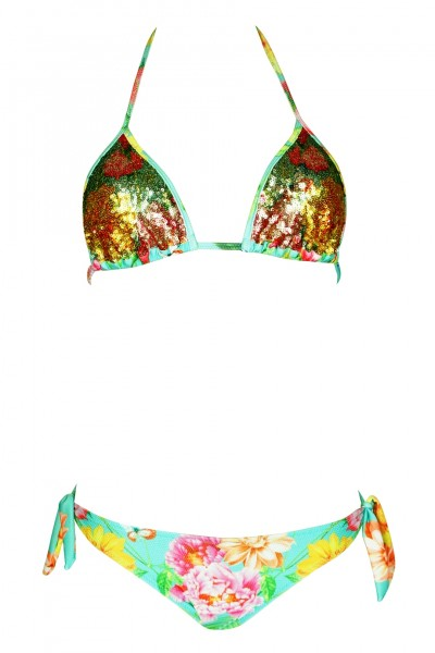 Padded Triangle Bikini with sequins in turqouise