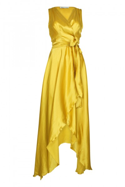 Marylin silk dress safran