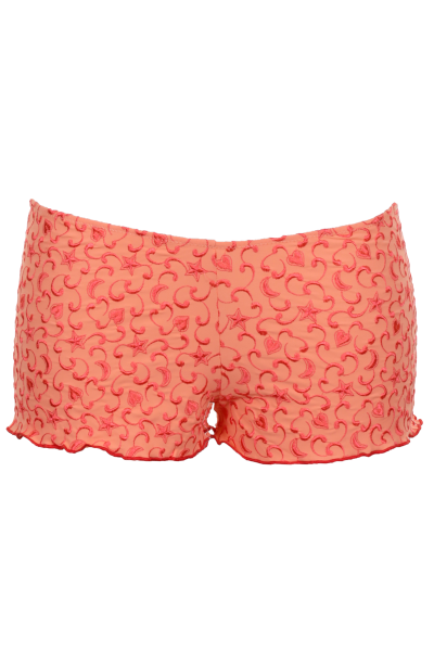 Shorts mit feiner Perlenstickerei in Rot auf Orange by Flavia Padovan 2015