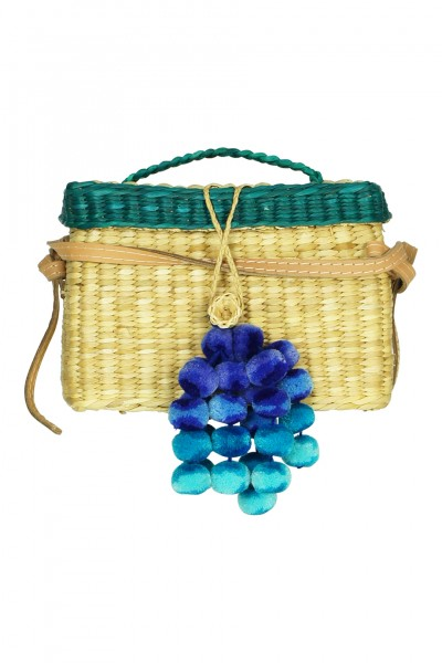 Roge woven tote with pompoms in turquoise