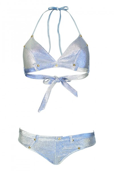 Denim Metallic Triangel Bikini in Hellblau