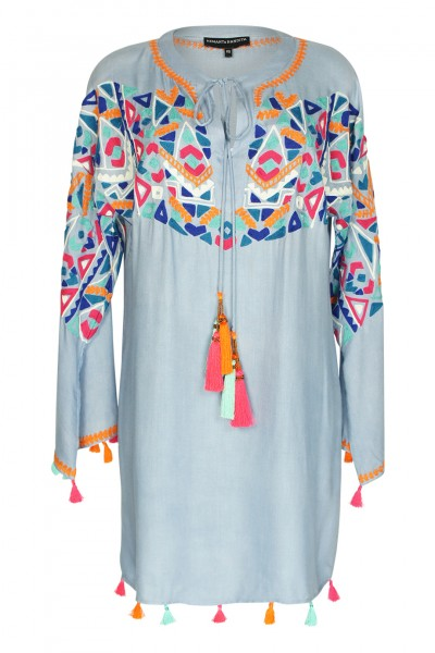 Embroidered boho tunic with tassels