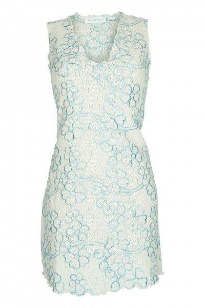 Dress with floral embroidery in white