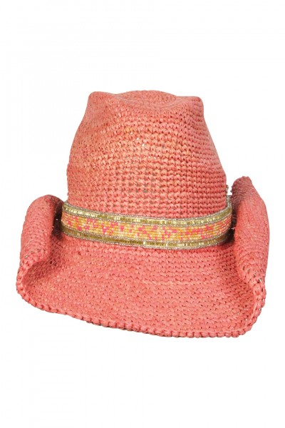 Cowboy hat in Rose with pearl trim