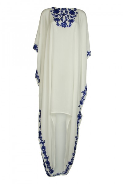 White silk caftan with blue embroidery