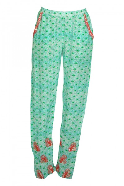 Printed silk embroidered pant mint