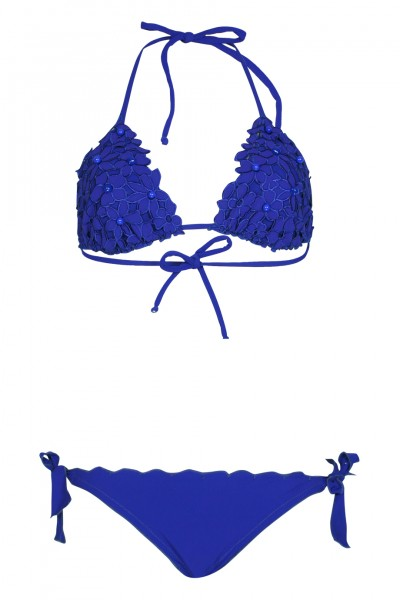 Padded Triangel Bikini mit Blütenstickerei in Lapis