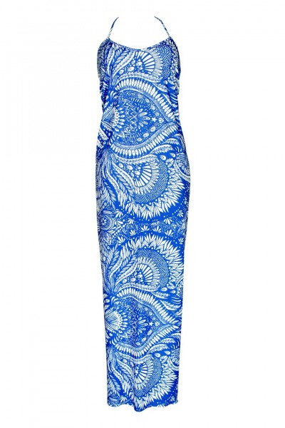 Maxikleid mit Mustertprint in blau