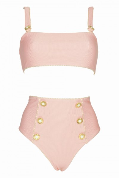 Piped Luxe Strap Bikini Pink