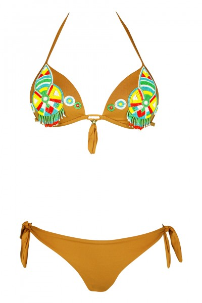 Push Up Bikini in brown with pearl embroidery