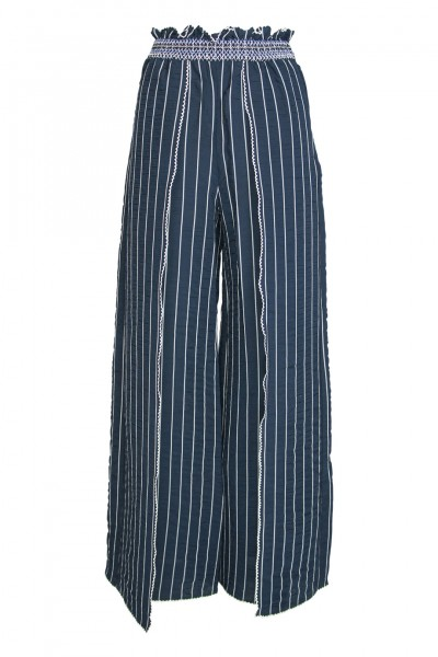 Smocked front slit pant in navy