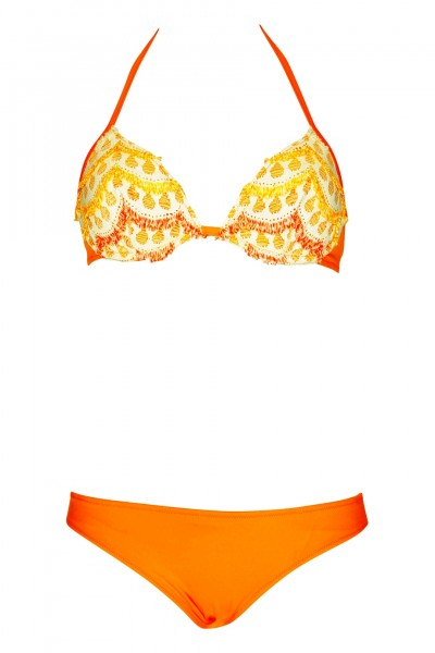 Wired-Bikini crochet fringed in orange