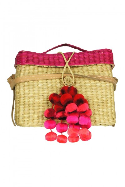 Roge woven tote with pompoms in pink