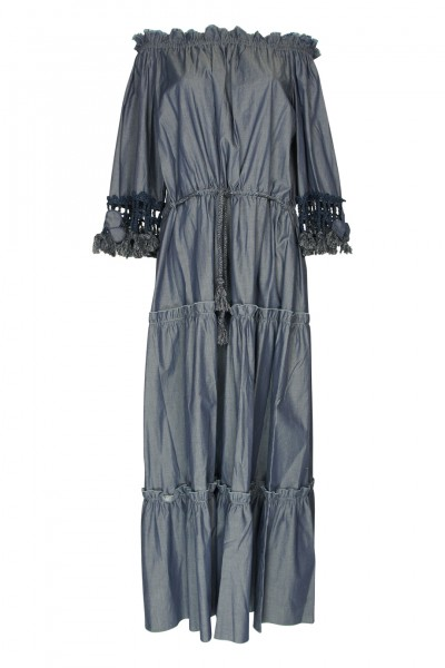Denim schulterfreies Maxikleid mit floraler Applikation