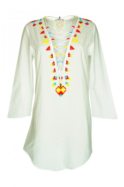 Tunic in white with pearl embroidery