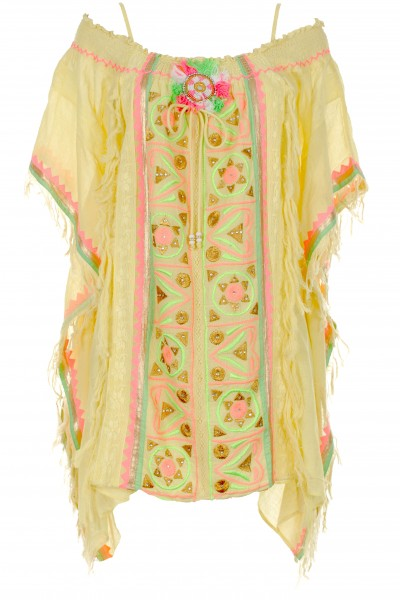 Embroidered poncho with fringes
