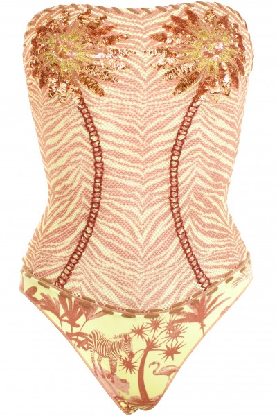 One piece swimsuit with paillettes
