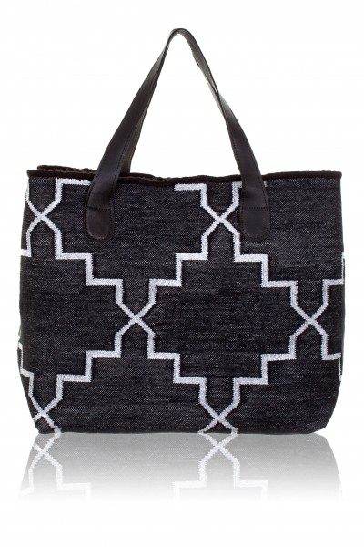 Black silver beach bag with hardcover