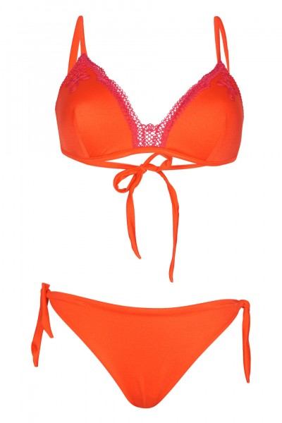 Push up Bikini mit Strickerei