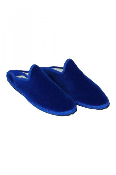 Velvet mules in blue