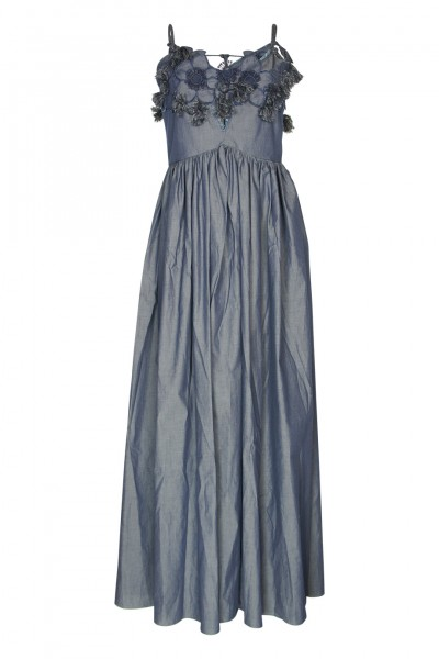 Denim maxi dress with floral application
