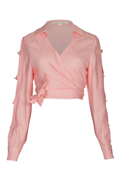 Piped Luxe Wrap Blouse Pink