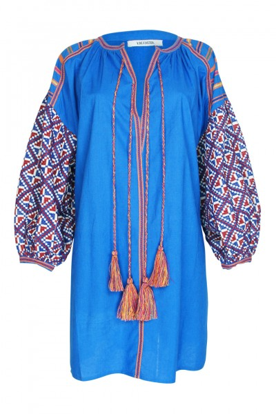 Balloon tunic blue with embroidery