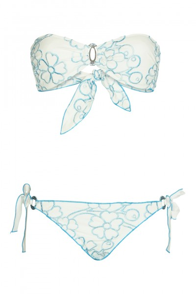 Padded bandeau bikini with floral embroidery in white