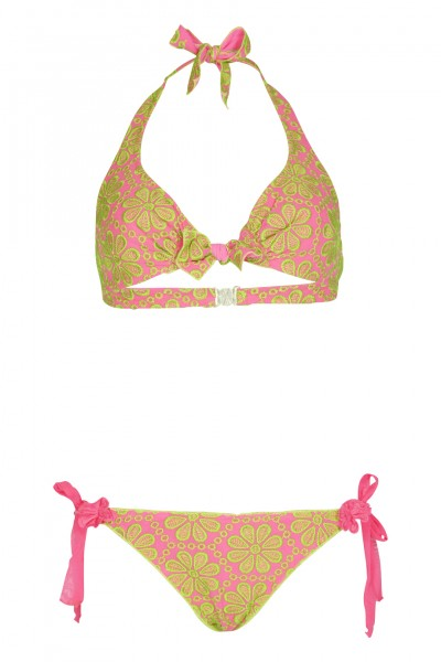 Triangle bikini with floral embroidery in pink C/D Cup