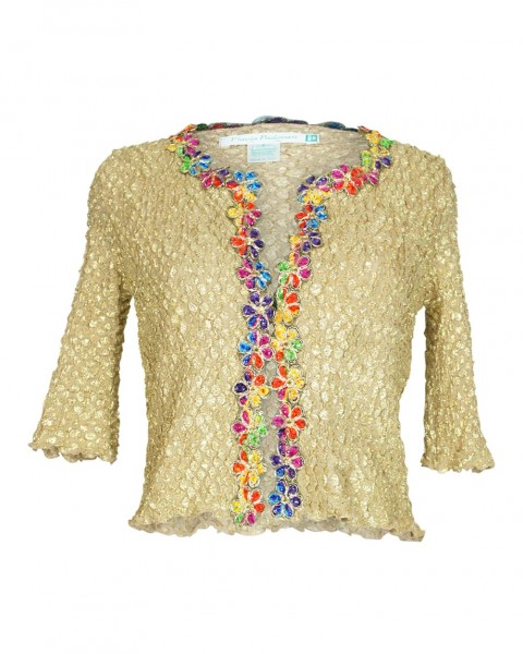 Jacket with flora embroidery in gold