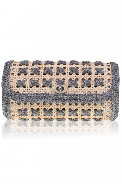 Braided space grey raffia clutch