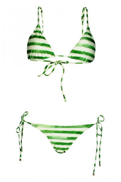 Green Stripe padded triangle bikini